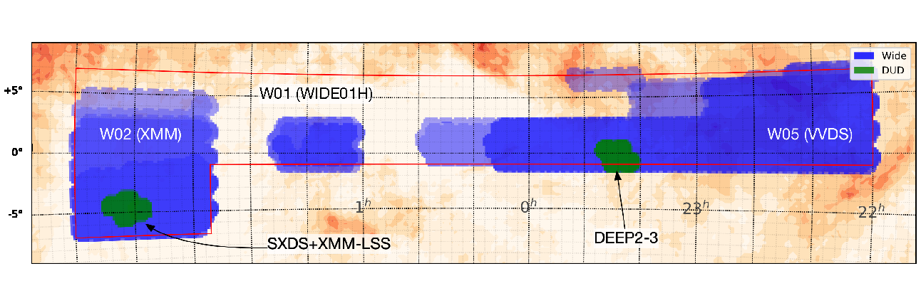 The area covered in this release shown in equatorial coordinates. The blue and green areas show the Wide and Deep+UltraDeep layers, respectively. For the Wide layer, the darker color means that the area is observed in more filters (up to 5 filters).